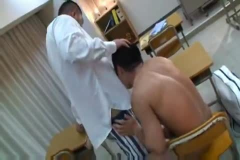 powerful oriental Teacher And Muscle Student engulfing And pounding.